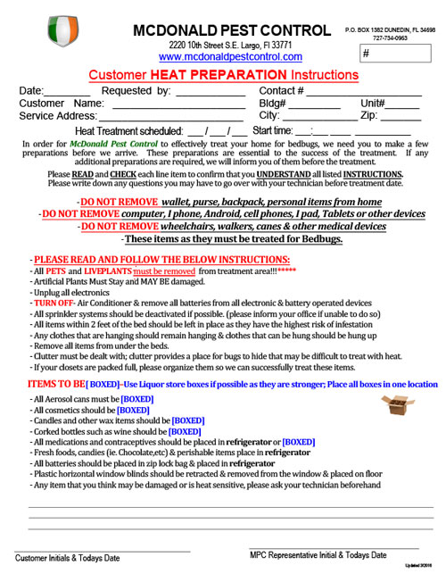 Heat Preparation Form