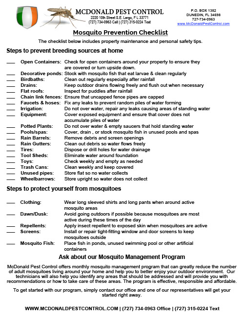 Mosquito Prevention Checklist